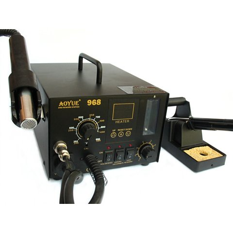 Hot Air Soldering Station AOYUE 968 with Soldering Iron and Smoke Absorber 110 V